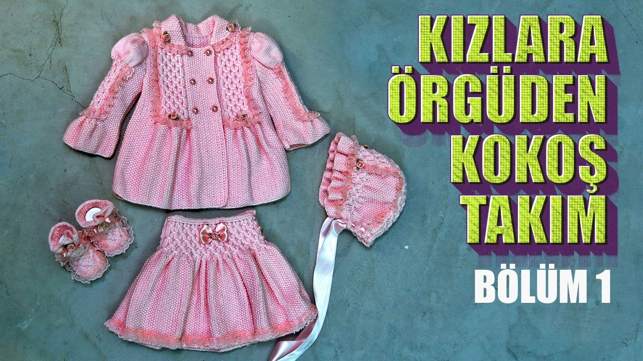 Yan Örülen Dilimli 4-5 Ay Kız Bebek Yelek Yapılışı Anlatımlı Türkçe Videolu