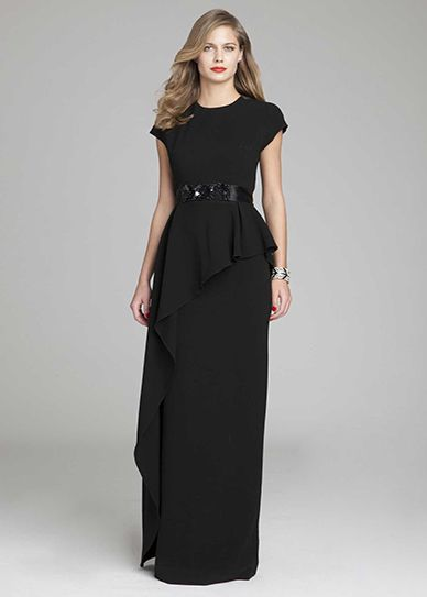 peplum gown with emebllished belt gorgeous dresses