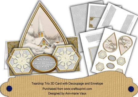 Ice Church Snowflake Christmas Filled Joy Teardrop Trio Kit on Craftsuprint - Add To Basket!