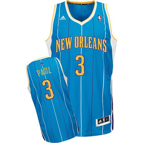 Adidas NBA New Orleans Hornets 3 Chris Paul New Revolution 30 Swingman Blue  Road Jersey