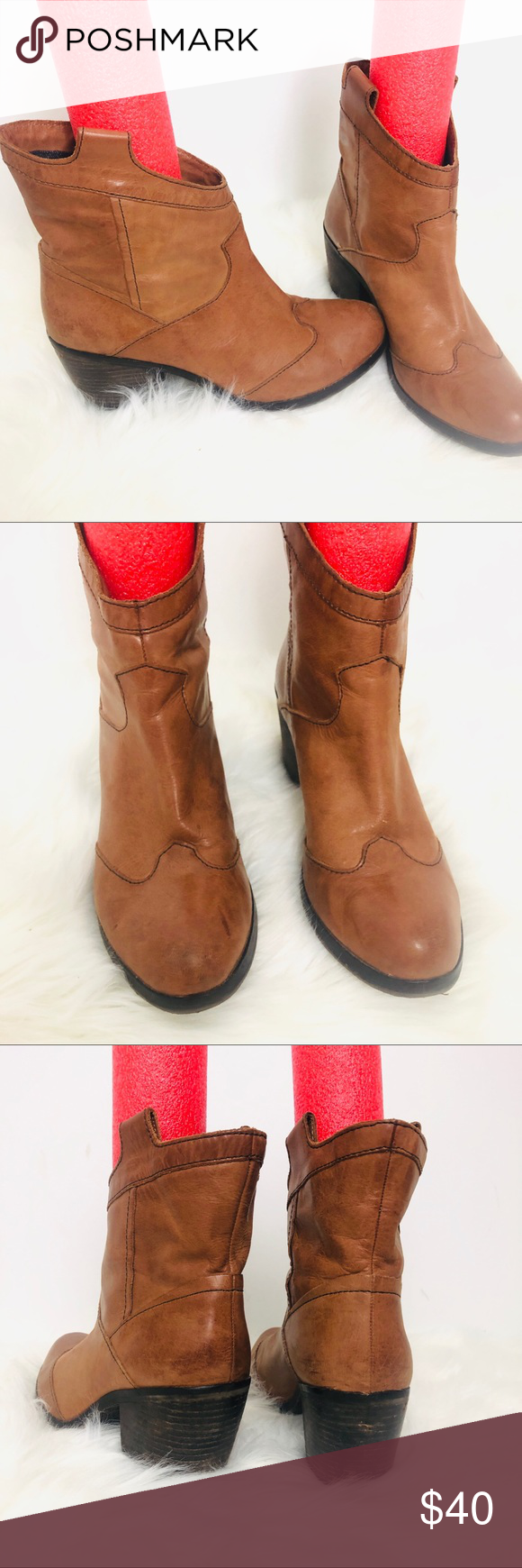 Calvin Klein brown boots Irene Size 9 Calvin Klein brown leather ankle boots size 9 name on label is Irene in great condition soft leather upper similar to a cowboy but great for skinny jeans see photos for more details(S145) Calvin Klein Shoes Ankle Boots & Booties #skinnyjeansandankleboots