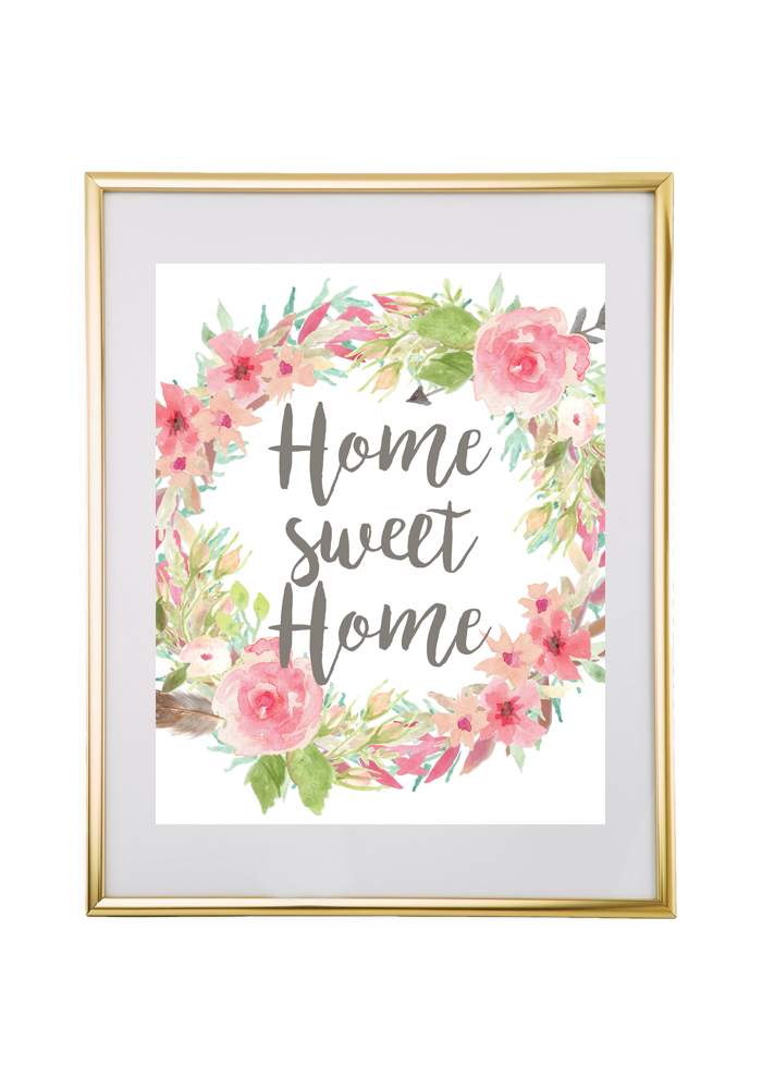 Home Sweet Home Floral Wreath Printable Wall Art Floral Wall Art