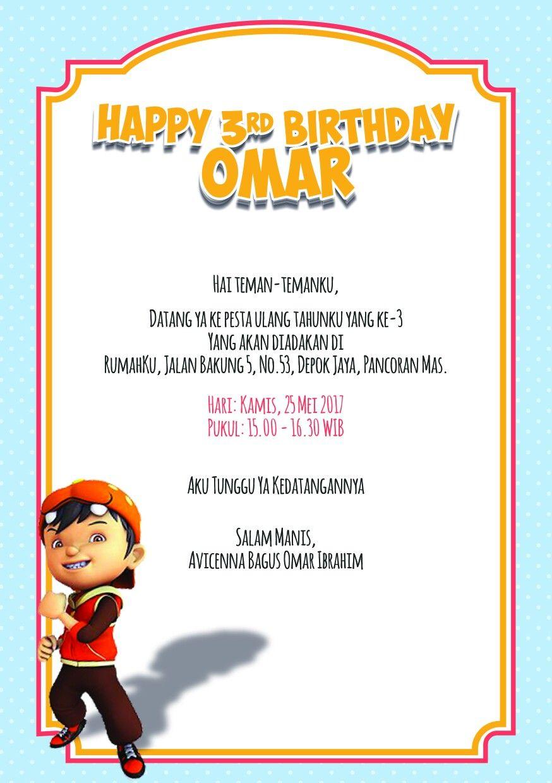 Birthday Invitation Boboiboy Theme Omar Birthday Ulang