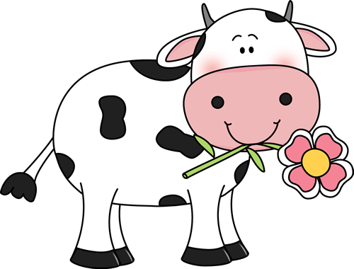 cow with a flower in its mouth udderly adorable im genes rh pinterest com cute cartoon cow clipart cute cow clipart free