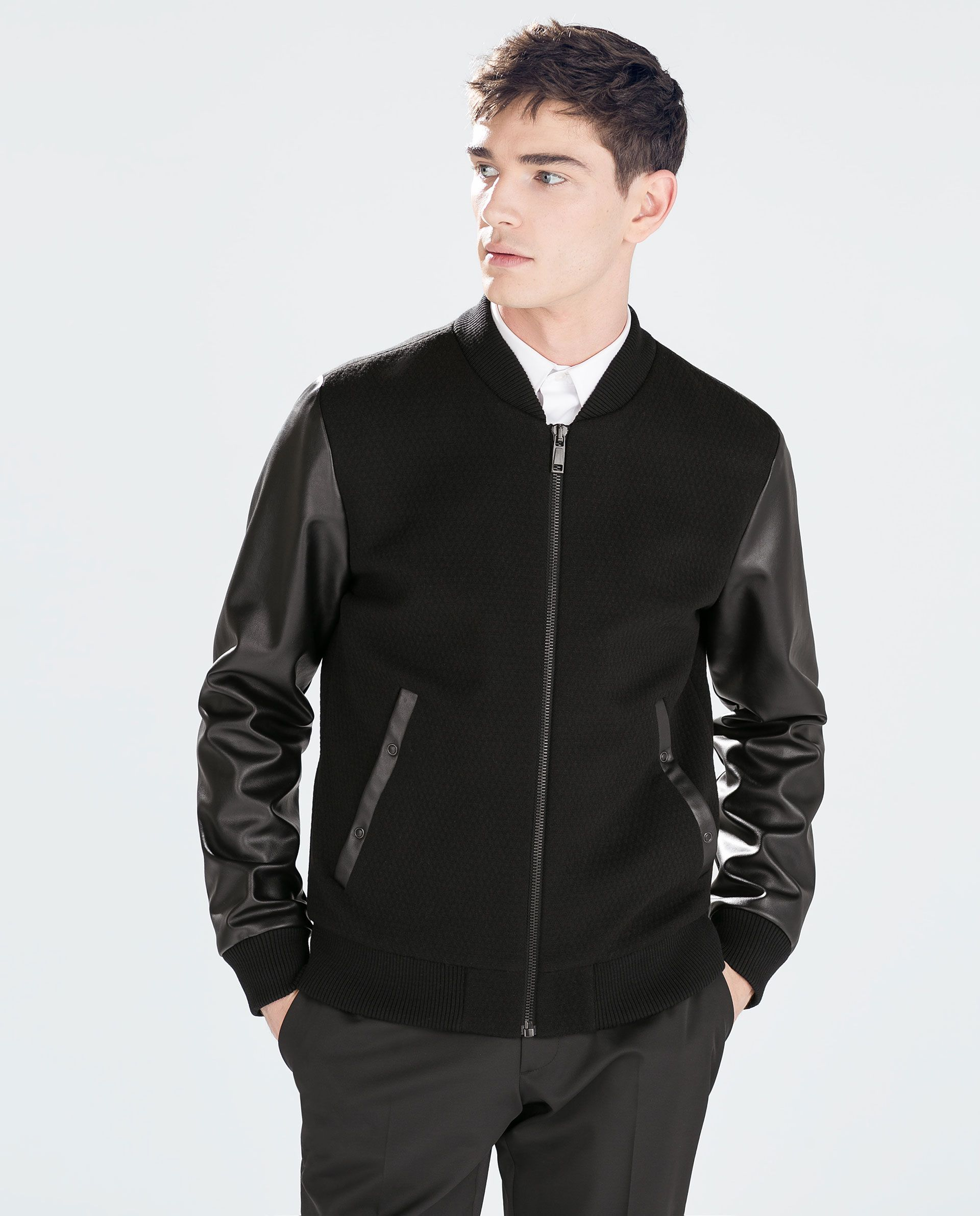 05585772b4ac JACKET WITH FAUX LEATHER SLEEVES - Jackets - MAN   ZARA Germany ...