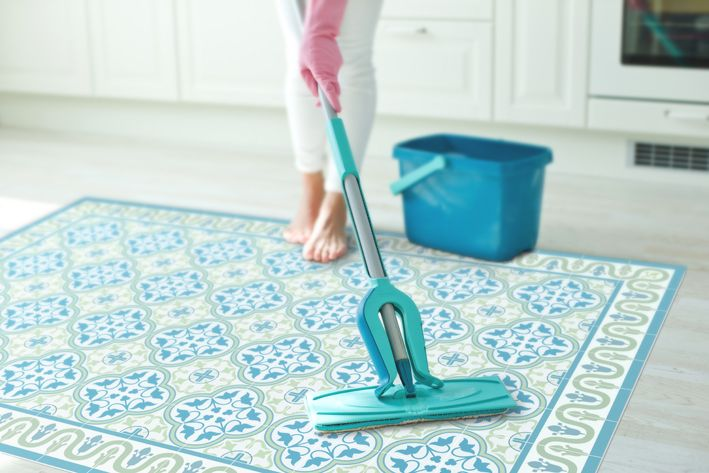Vinyl Floor Mat With Tiles In Green And Turquoise Kitchen Runner