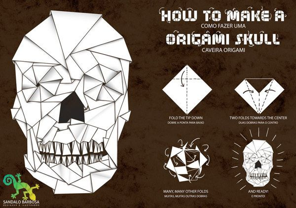 Origami Skull By Sandalo Barbosa Via Behance Origami Other