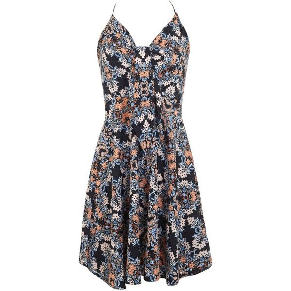 Miss Selfridge Floral Tie Front Dress (£15) ❤ liked on Polyvore featuring dresses, sale, black floral dress, floral sundress, black tie dresses, sun dresses e sundress dresses