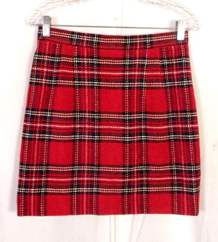 c0a9767e3e29 vtg 80s Crisca Wool Blend Tweed Red Tartan Plaid Skirt Mini Pencil portugal  38