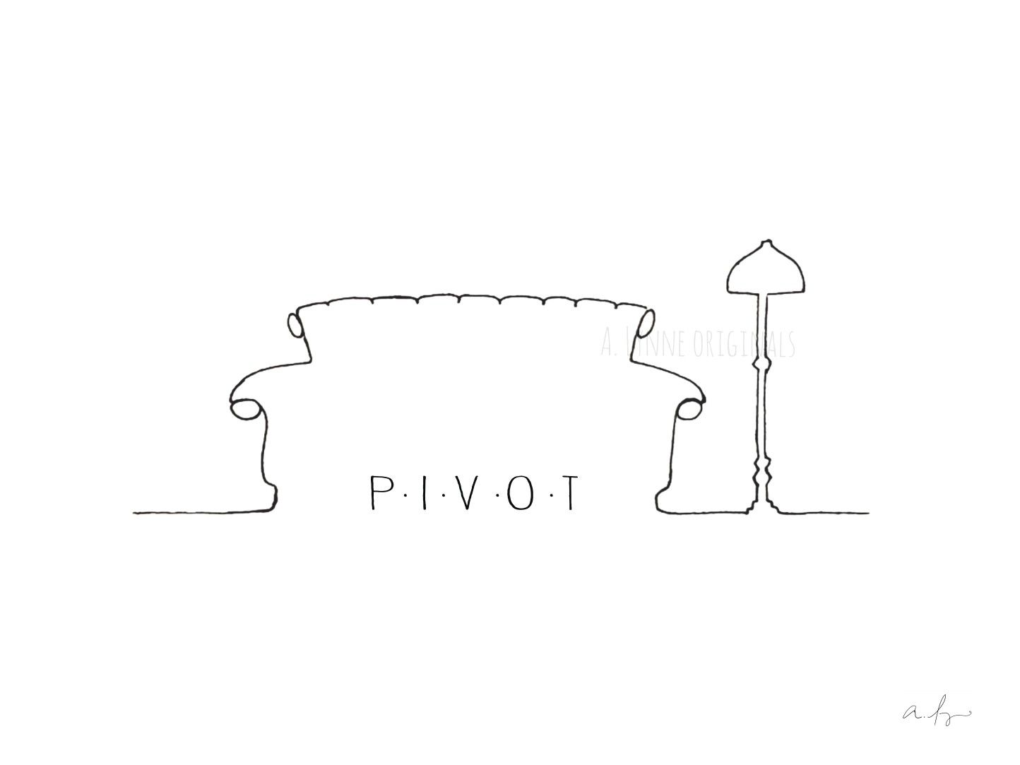 Friends Pivot Couch And Lamp Minimal Outline Drawing Drawings Of Friends Pivot Friends Outline Drawings
