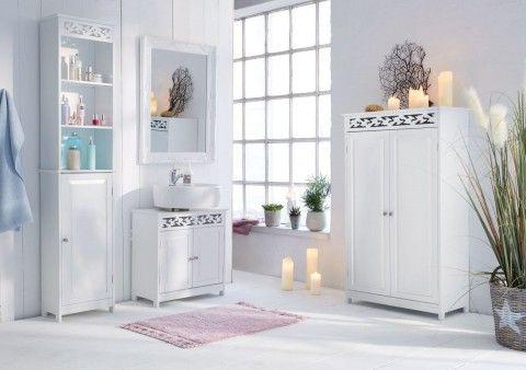 Landhaus Badmöbel badschrank weiß badezimmer ideen landhausstil schrank weiß