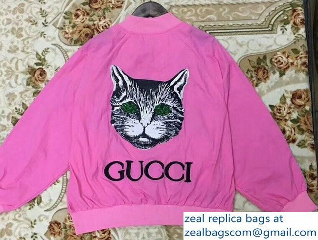 bc8ca46ce Gucci Windbreaker Jacket Sun Protection Hoodie Clothes Cat Fuchsia ...