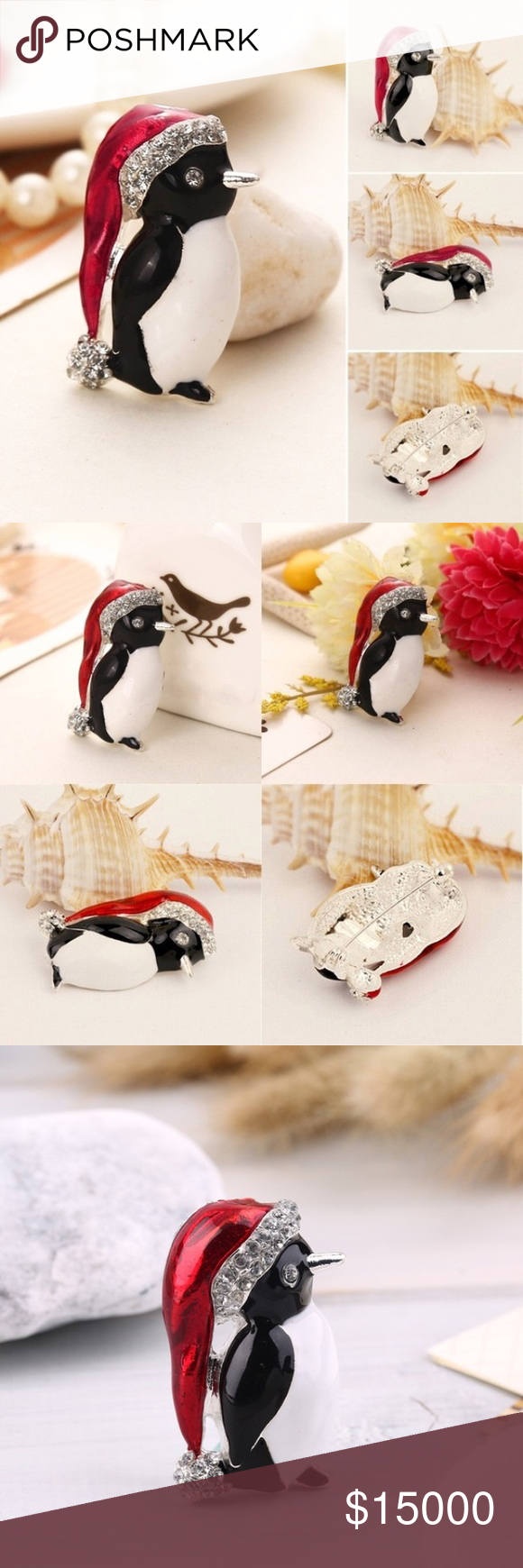 quirky brooch playful img jewellery gold db charming little and scarf penguin white file moose with black mirror product