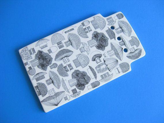 Kaj Franck Arabia Finland Ceramic Mushroom Tile Cutting Board Mid - Ceramic tile cutting boards