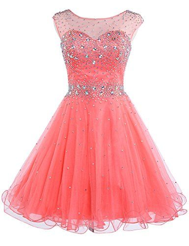 5e4a2d22632 Sarahbridal Girls Short Tulle Beading Homecoming Dress Prom Gown US2 Coral  Sarahbridal http