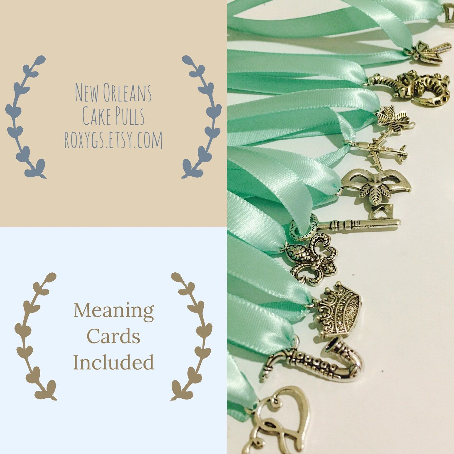 cake pulls, new orleans cake pulls 12 charms set 1 ribbons you