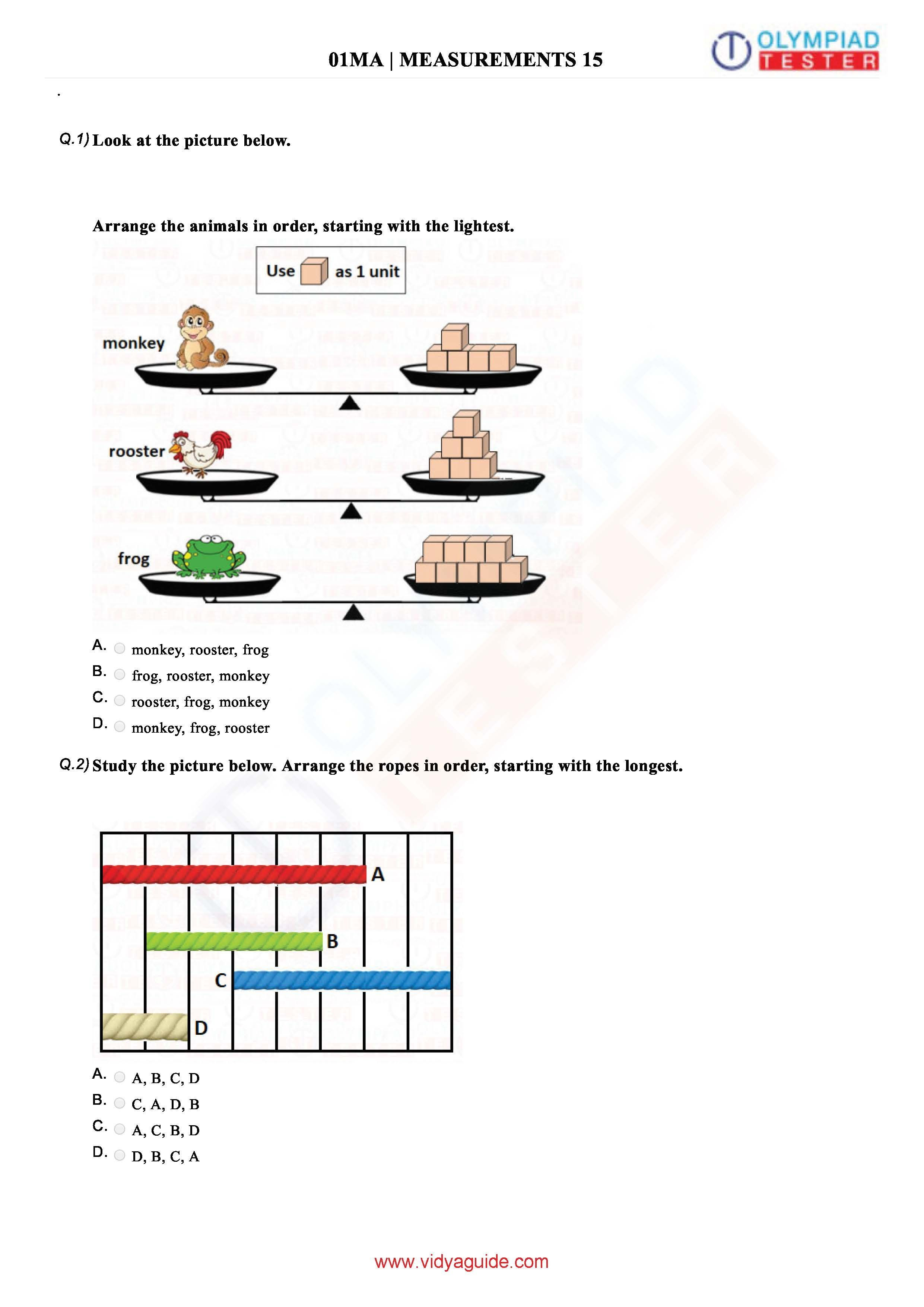 Download Grade 1 Maths Olympiad Printable Worksheets And Sample Papers From Vidyaguide Math Olympiad Class 1 Maths Math