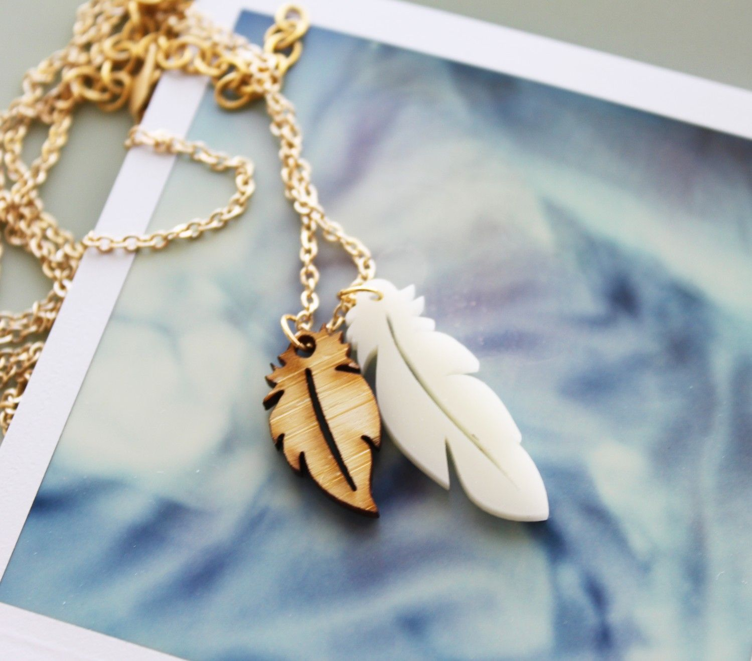necklace normal product harlow gallery jewelry ivory tassel gold feathered metallic chlo lyst in pendant chloe