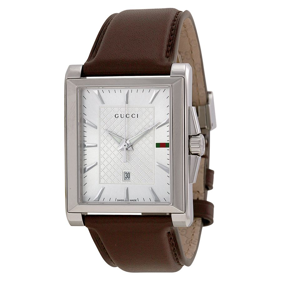 Gucci G Timeless Silver Dial Brown Leather Mess Watch Ya138405 Gucci Watches For Men Quartz Watch Gucci Watch