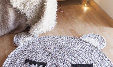 alfombra en trapillo en forma de cara de oso | Alfombra de