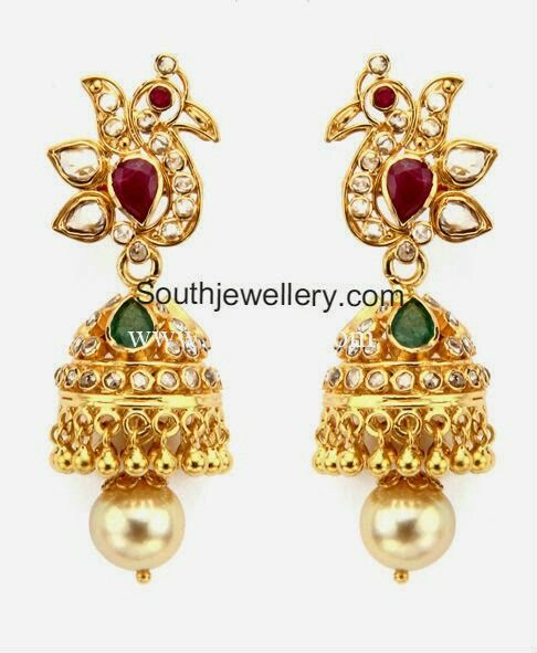 Uncut Diamond Jhumkas 22 Carat Gold Peacock Design Jhumkas Studded With Uncut Diamonds Rubies Emeralds Diamond Jhumkas Uncut Diamond 22 Carat Gold Jewellery