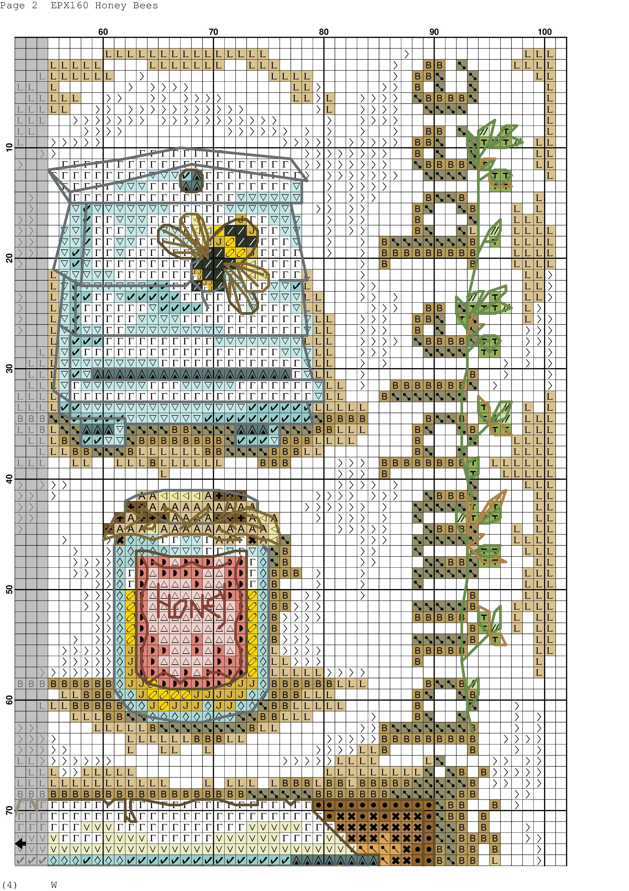 3/6 Honey bees. Cross stitch.