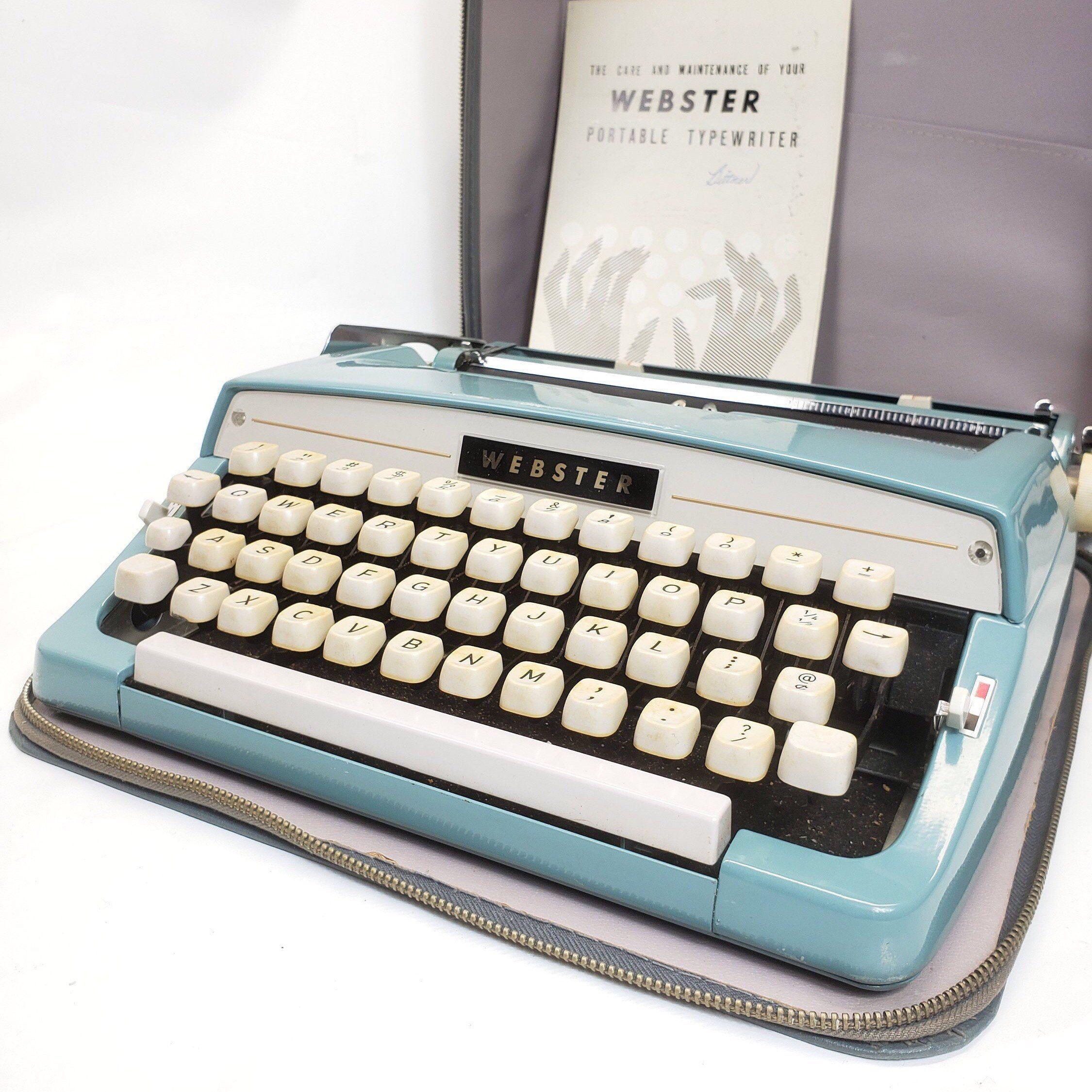 Excited to share this item from my #etsy shop: Typewriter, webster, aqua, Brother typewriter, Japan, case, metal, blue #portable #travel #smalltypewriter #manualtypewriter #midcentury #blue #vintage #japan #typewriter