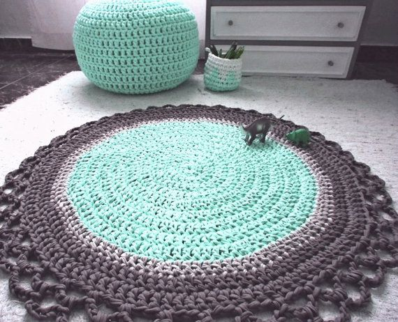Mint Grey Crochet Round Rug Babyrooms Nursery Pastel Floor Mat Eco Friendly Decor Housewares