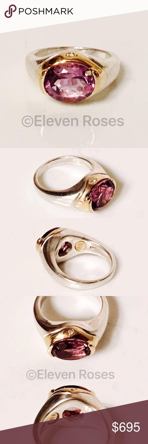 Movado Sterling 18k Gold Amethyst Diamond Ring Movado Amethyst