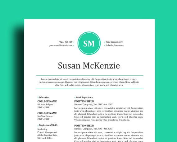 2 Page Resume Template + Cover Letter Easy to Edit in Word - 2 page resume