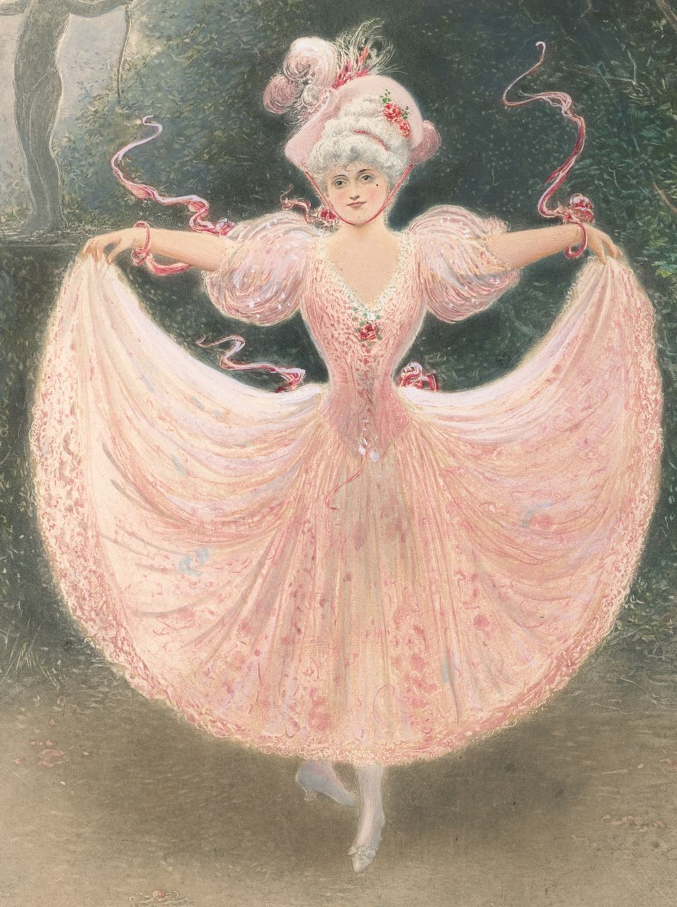 Antique Victorian Ballerina in Pink Dress, Original Signed Color Print, La Danseuse, 1895 Ballet