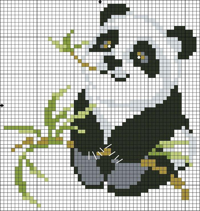 panda cross stitch Point de croix panda | Cross Stitching ...
