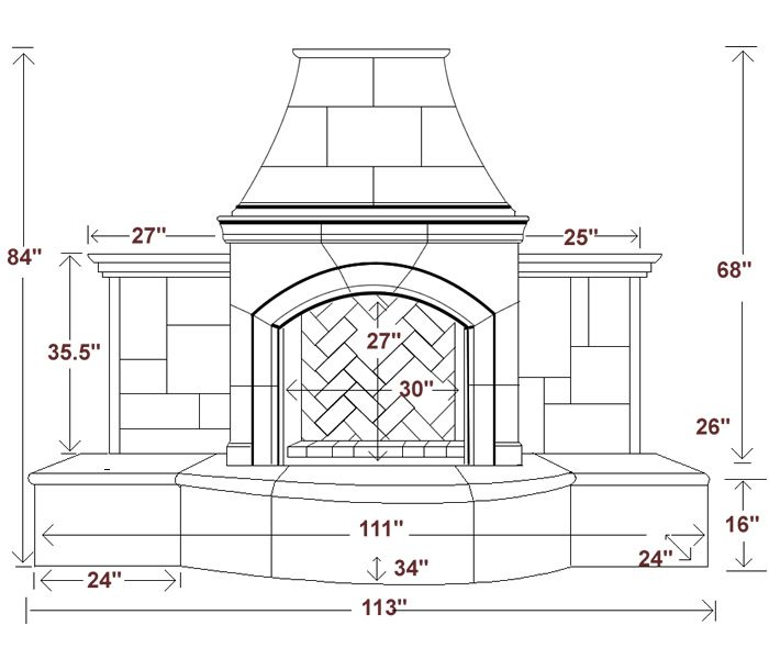 Related keywords suggestions for outdoor fireplaces for Fireplace dimensions plan