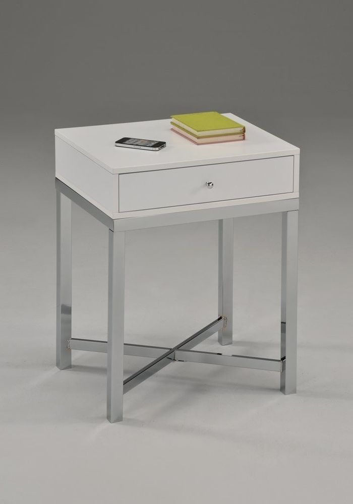 free shipping 7199c 47f54 Ebay #White #Modern #Bedside #Table #Bedroom #Wood #Chrome ...