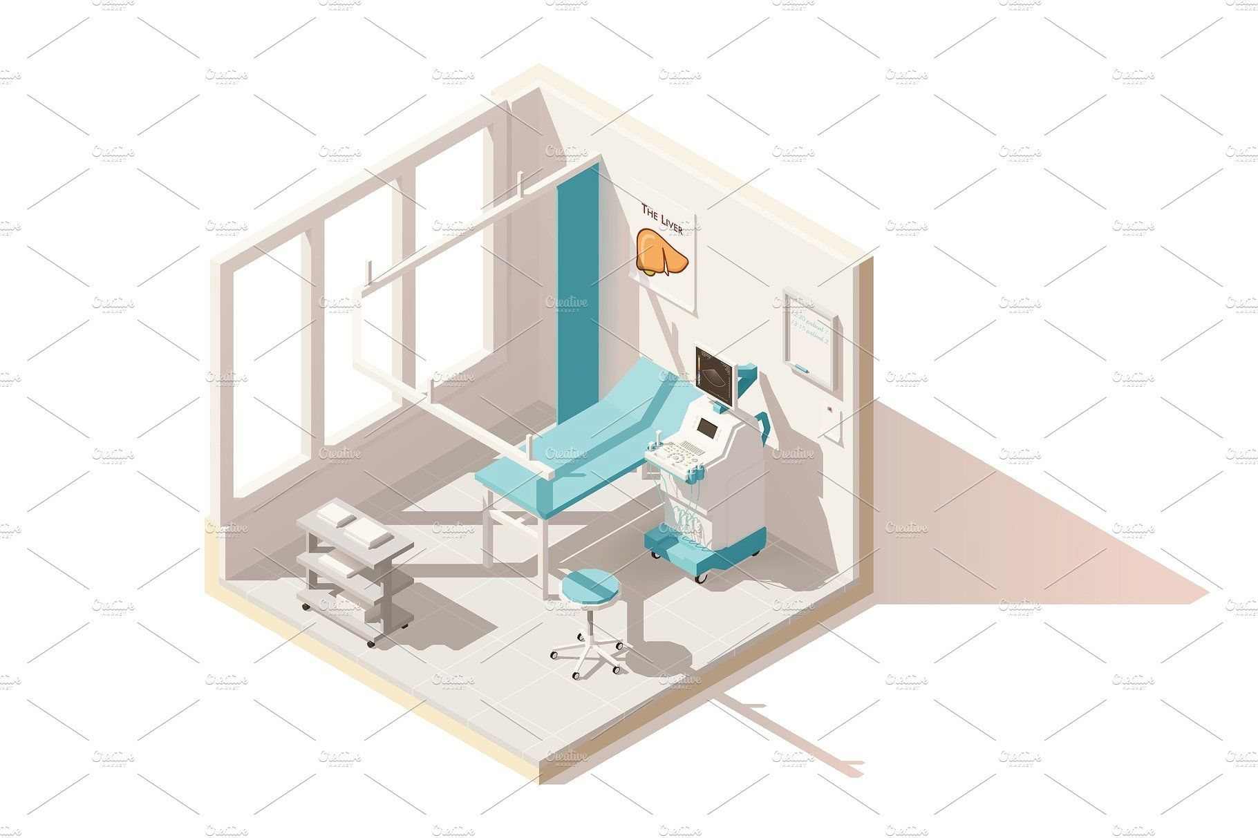 Vector isometric low poly ultrasound room Hospital