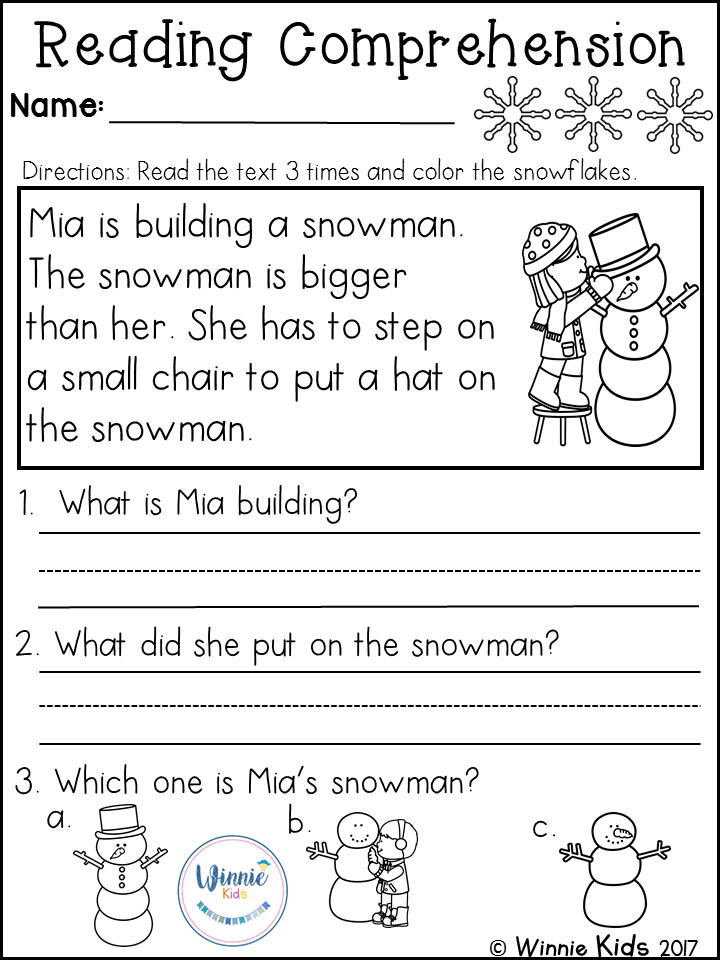 Kindergarten Reading Comprehension Passages Winter Reading Comprehension Kindergarten Reading Comprehension Worksheets Preschool Reading