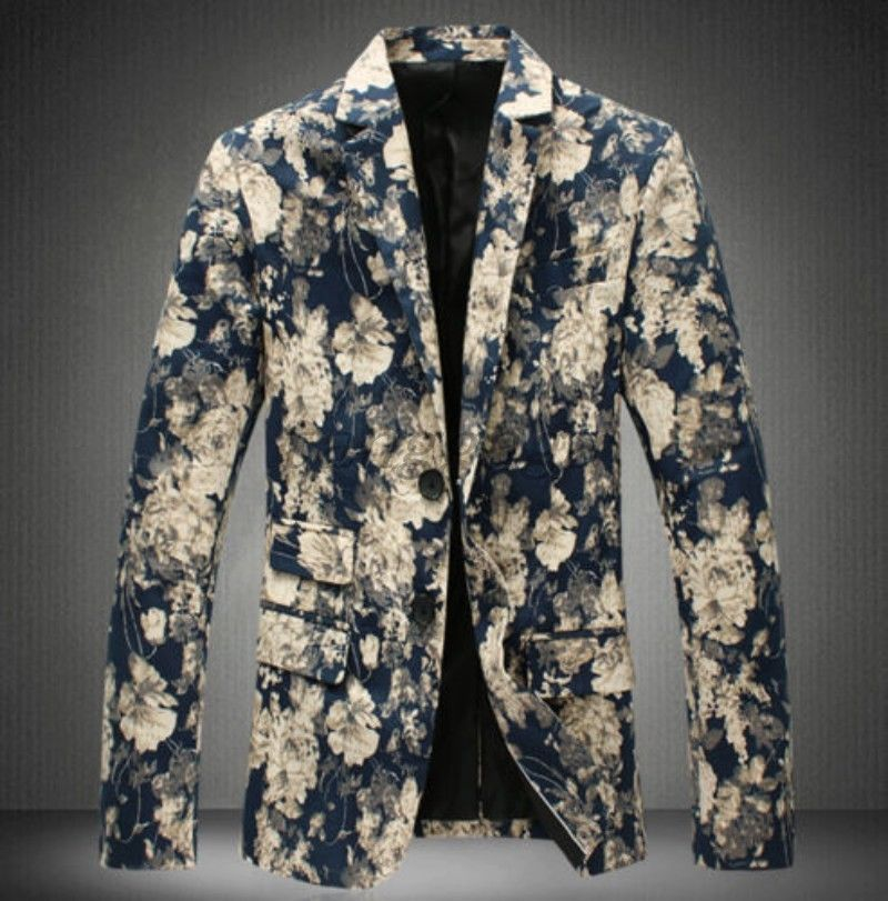 New Fashion Mens Lapel Two Buttons Slim Floral Formal Dress Coats
