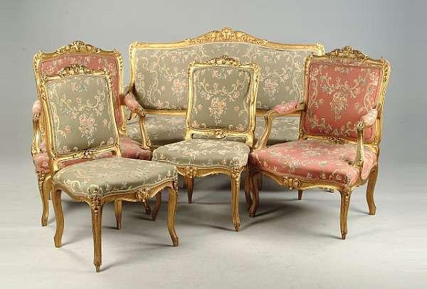 A louis xv style salon suite salon salons furniture settee - Salon louis xv ...