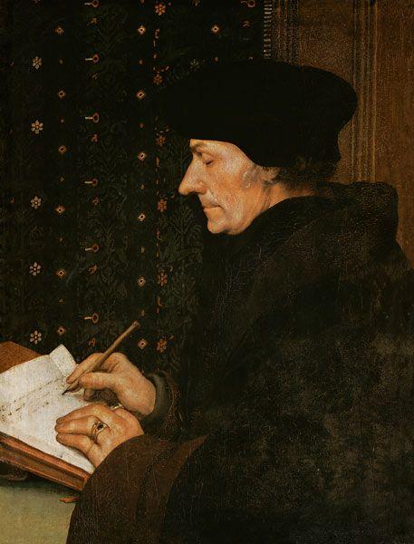 Hans Holbein d.J. - Erasmus von Rotterdam am Schreibpult
