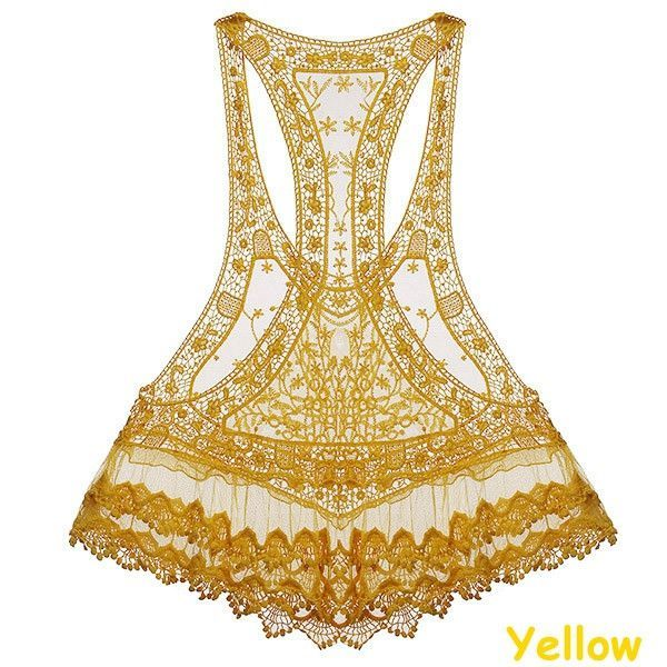 2016 Latest Style Tank Tops Summer Sleeveless Hollow Out Floral Lace Crochet Women Sweet Loose Vest Sexy Tops Beach Cover Up