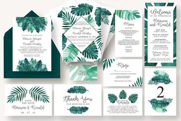 Tropical Leaves Invitation Suite by Knotted Design on @creativemarket