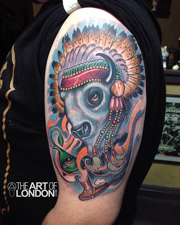 Great White Buffalo Native American Headdress Tattoo | Tattoos n ...