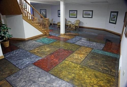 Reflector Enhancer Metallic Epoxy Floor In A Residential Area With Hand Painted Tile Pattern