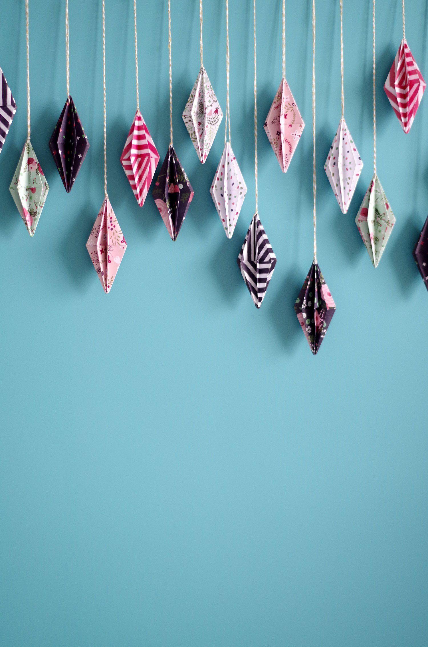 diy ma guirlande de diamant origami d tail kids pinterest origami. Black Bedroom Furniture Sets. Home Design Ideas