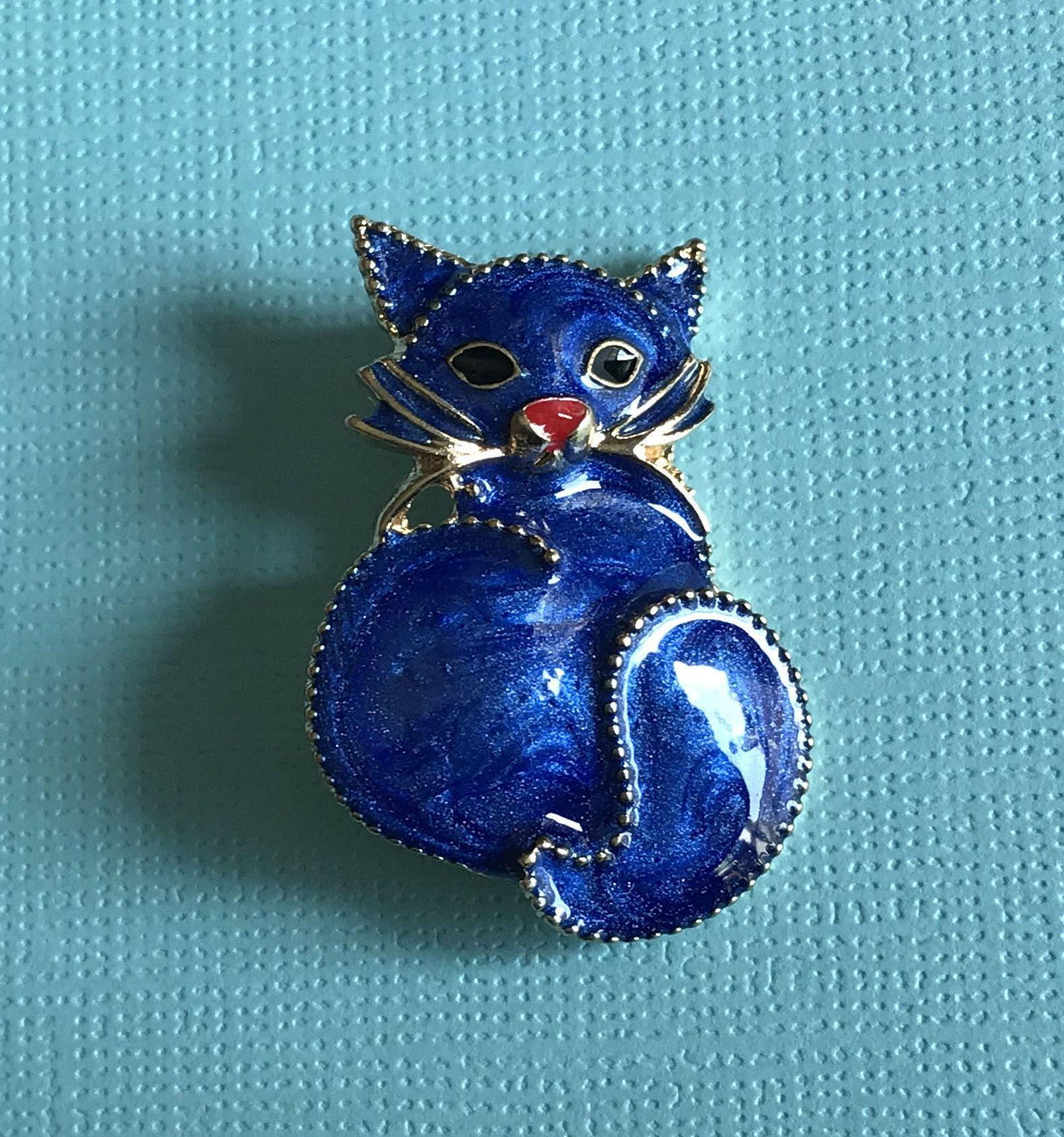 Blue Cat Brooch Blue Cat Pin Cat Jewelry Cat Rescue Cat Adoption Cat Brooch Cat Jewelry Vintage Cat Brooch