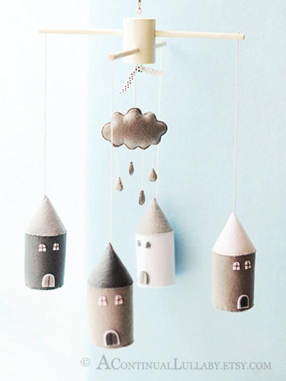 427586a837165 Cloud Raindrop House Baby Mobile, Black White Grey, Cloud Mobile ...