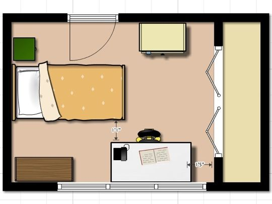 Small bedroom layout home design ideas jillian 39 s room for Bed placement in small room