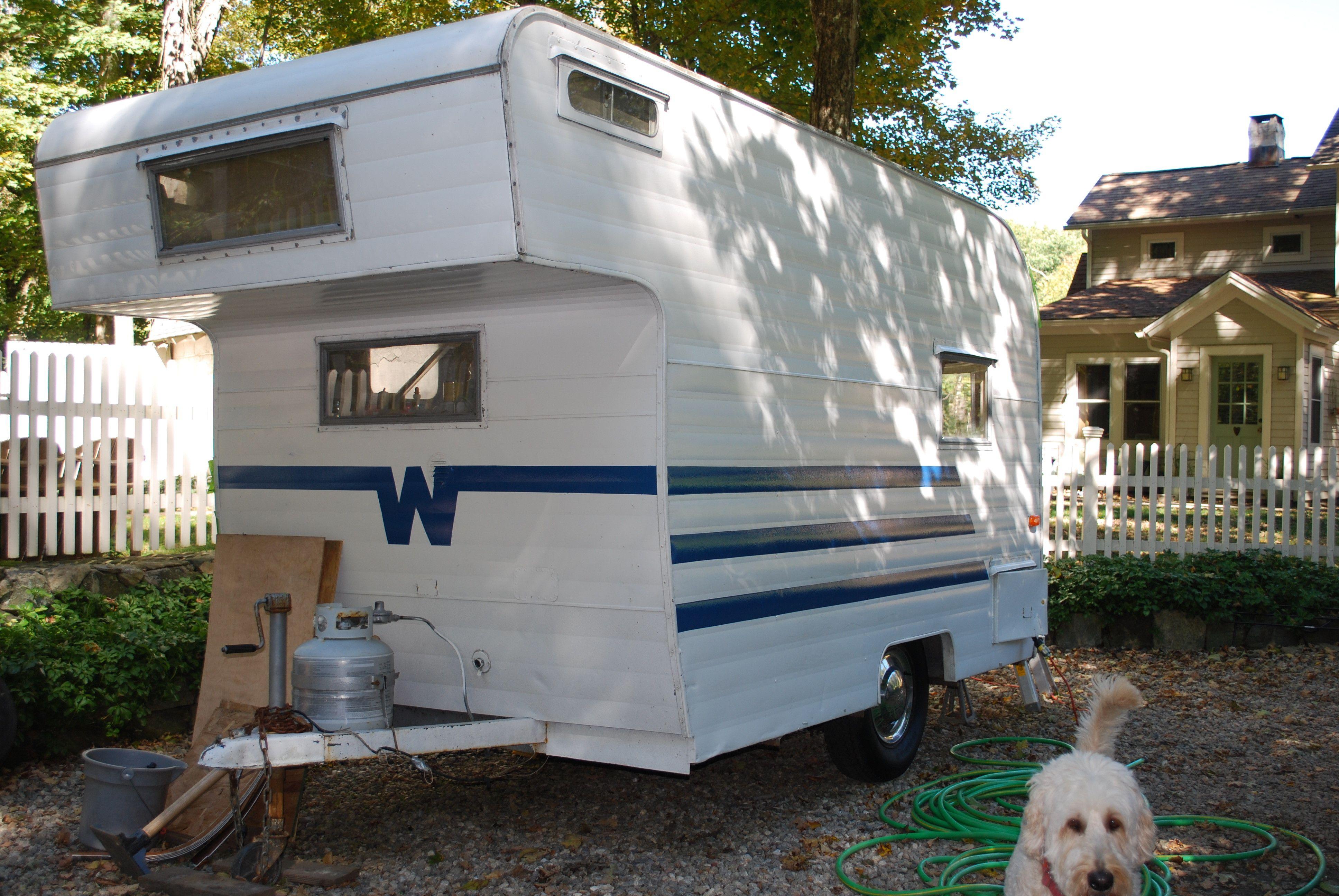 Vintage winnebago camper after 1961 minnie winnie new blue stripes