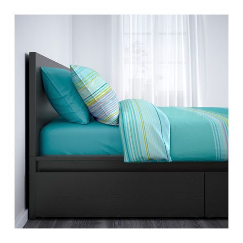 Malm High Bed Frame 4 Storage Boxes Black Brown Luroy Queen Ikea High Bed Frame Malm Bed Frame Malm Bed