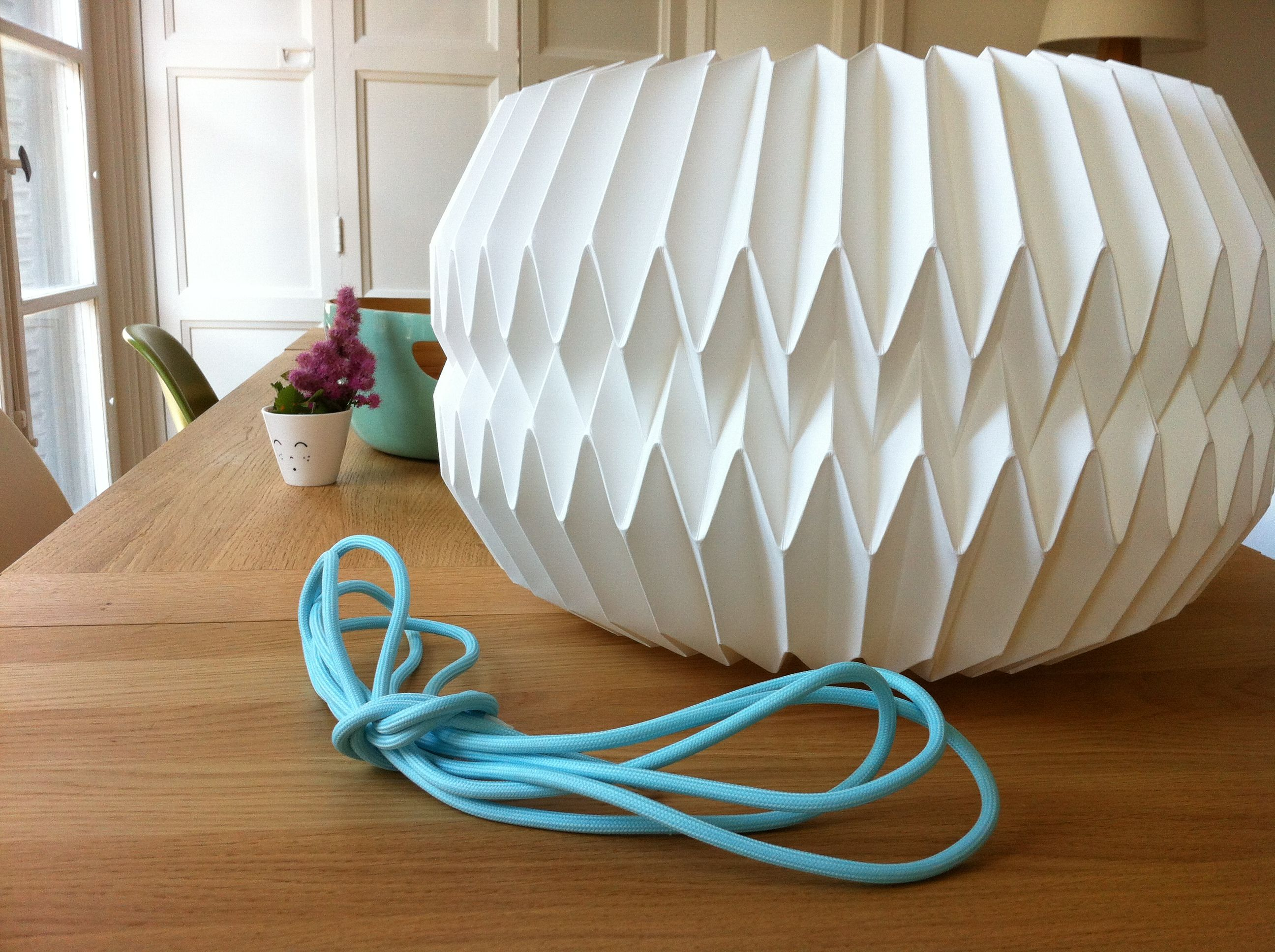 Studio Snowpuppe Lamp : C ble textile bleu pastel studio snowpuppe lampe origami